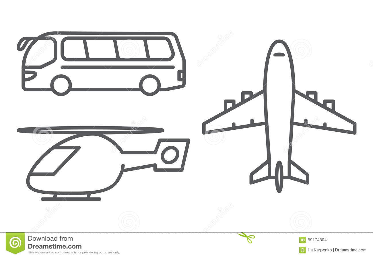 Outline Transport Icons Set Stock Vector