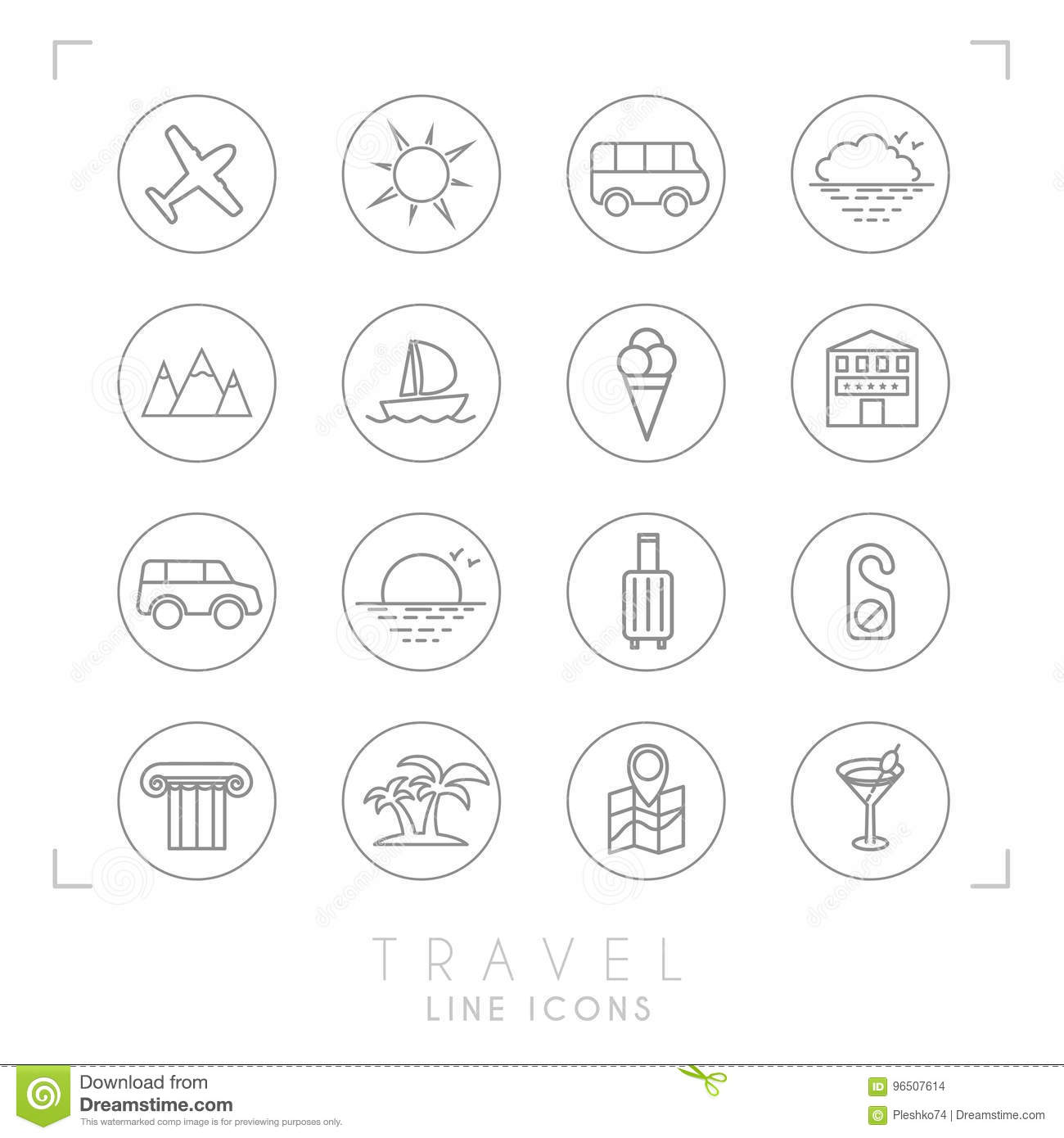 Outline travel line icons set in circles. Airplane, sun, bus, cloud horizon, mountains, yacht, hotel, rent car, luggage, do not di