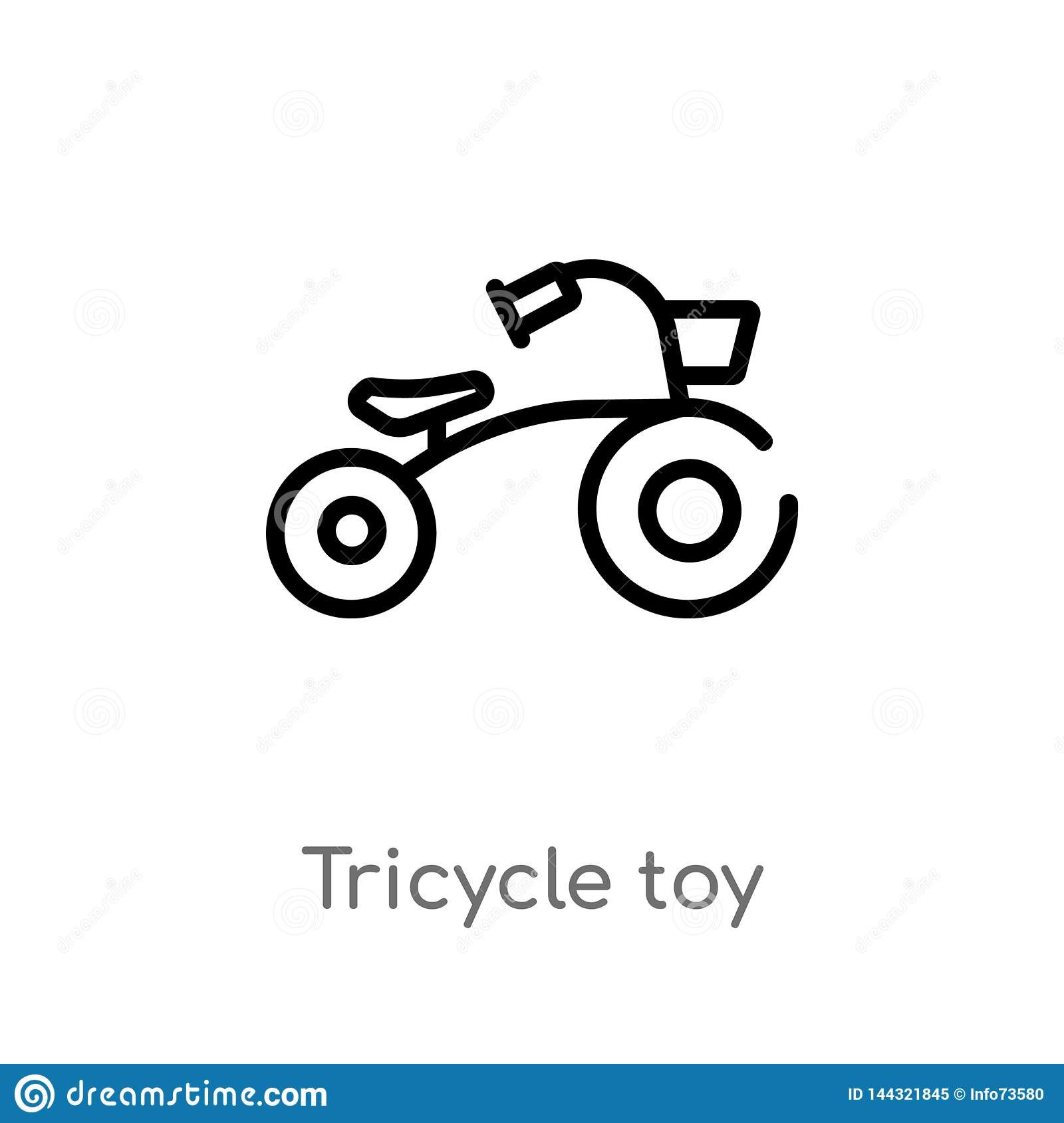 outline tricycle toy vector icon. isolated black simple line element illustration from toys concept. editable vector stroke