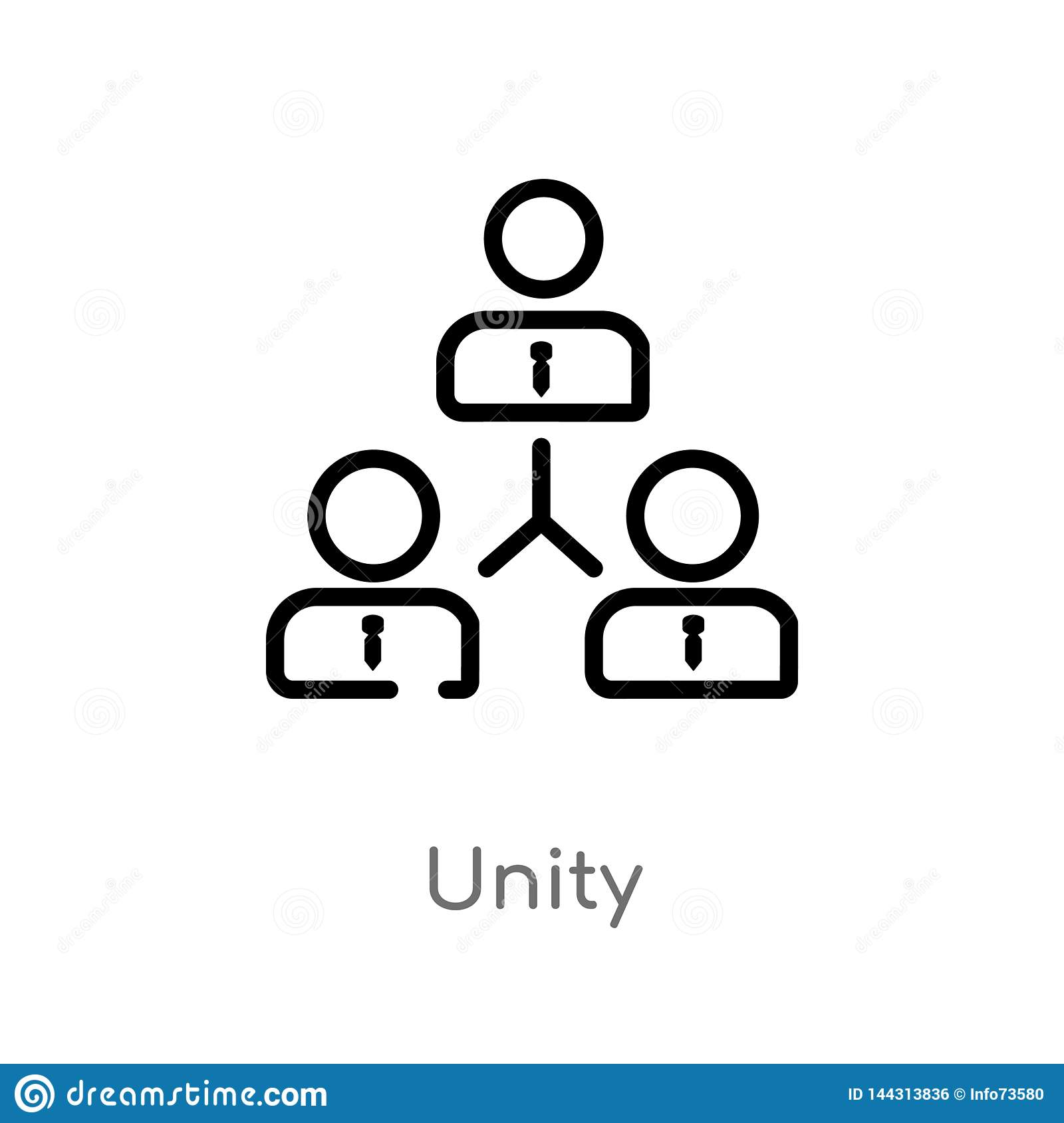 Outline Unity Vector Icon  Isolated Black Simple Line Element