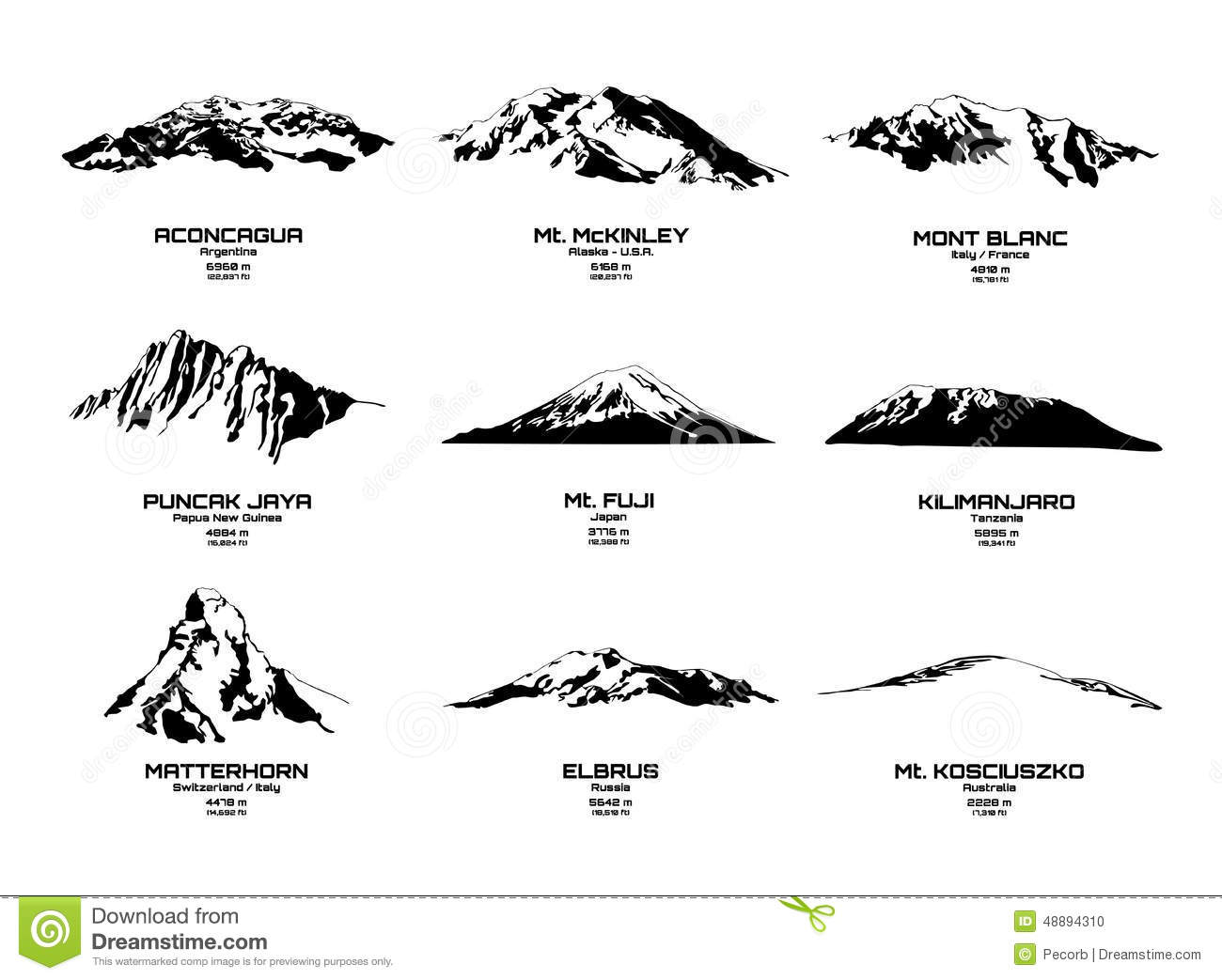 Outline Vector Illustration Of Highest Mountains Of