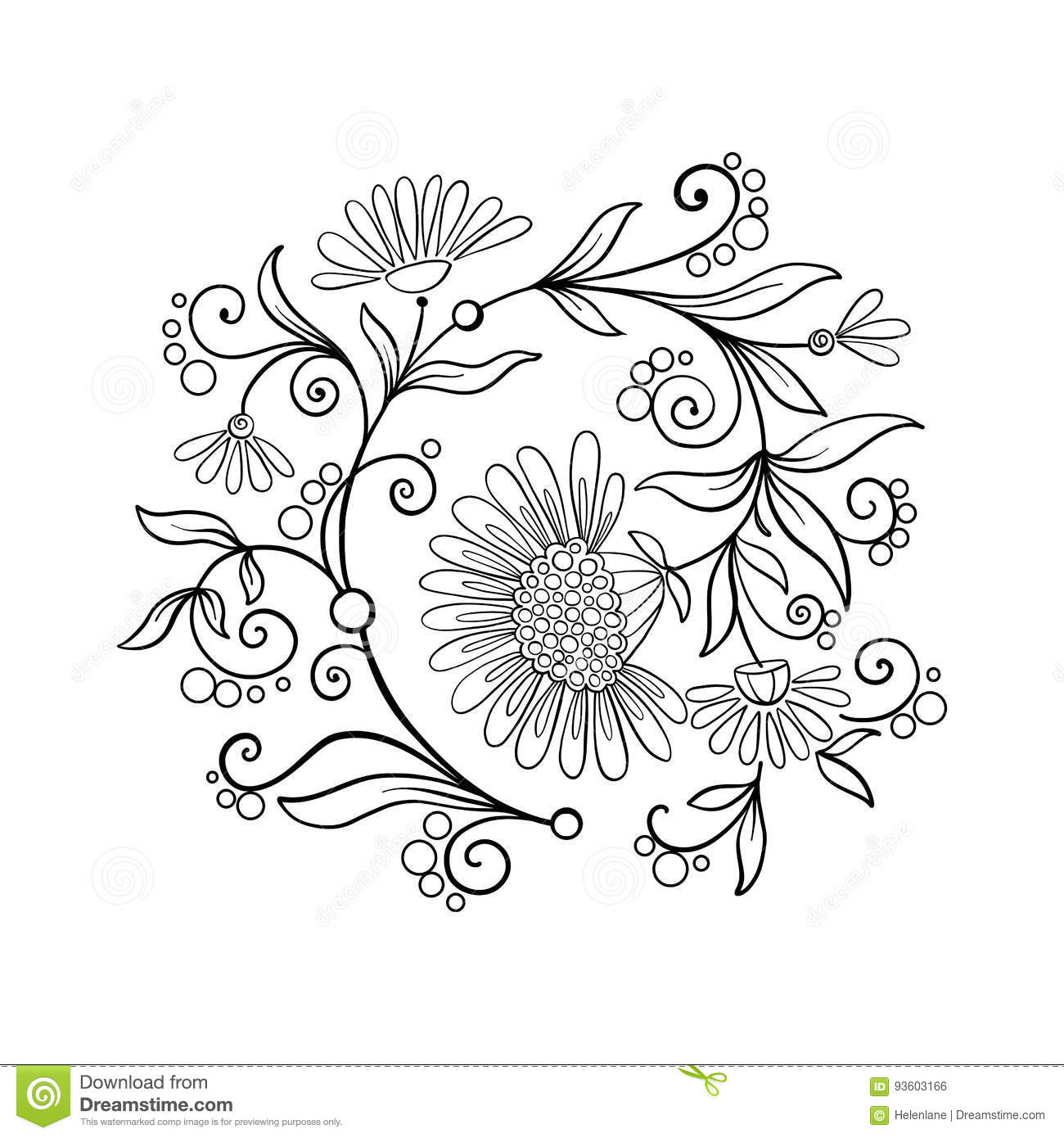 Outline Vintage Flowers Bouquet Or Pattern Stock Vector