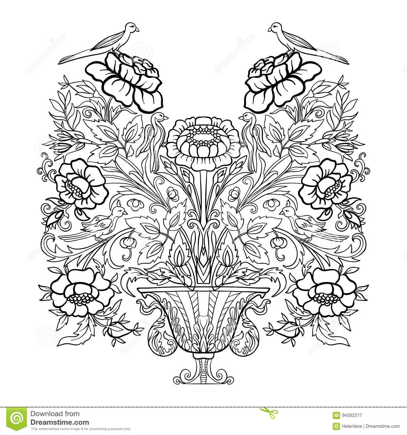 outline vintage flowers bouquet or pattern stock vector image