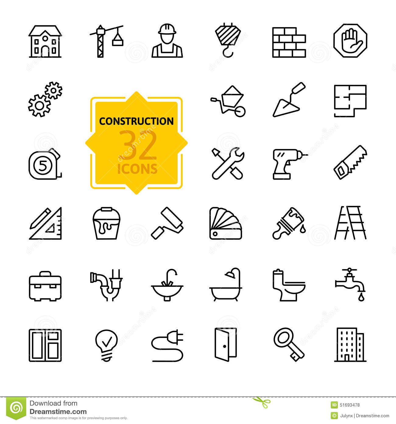 Outline Web Icons Set Construction Home Repair Tools