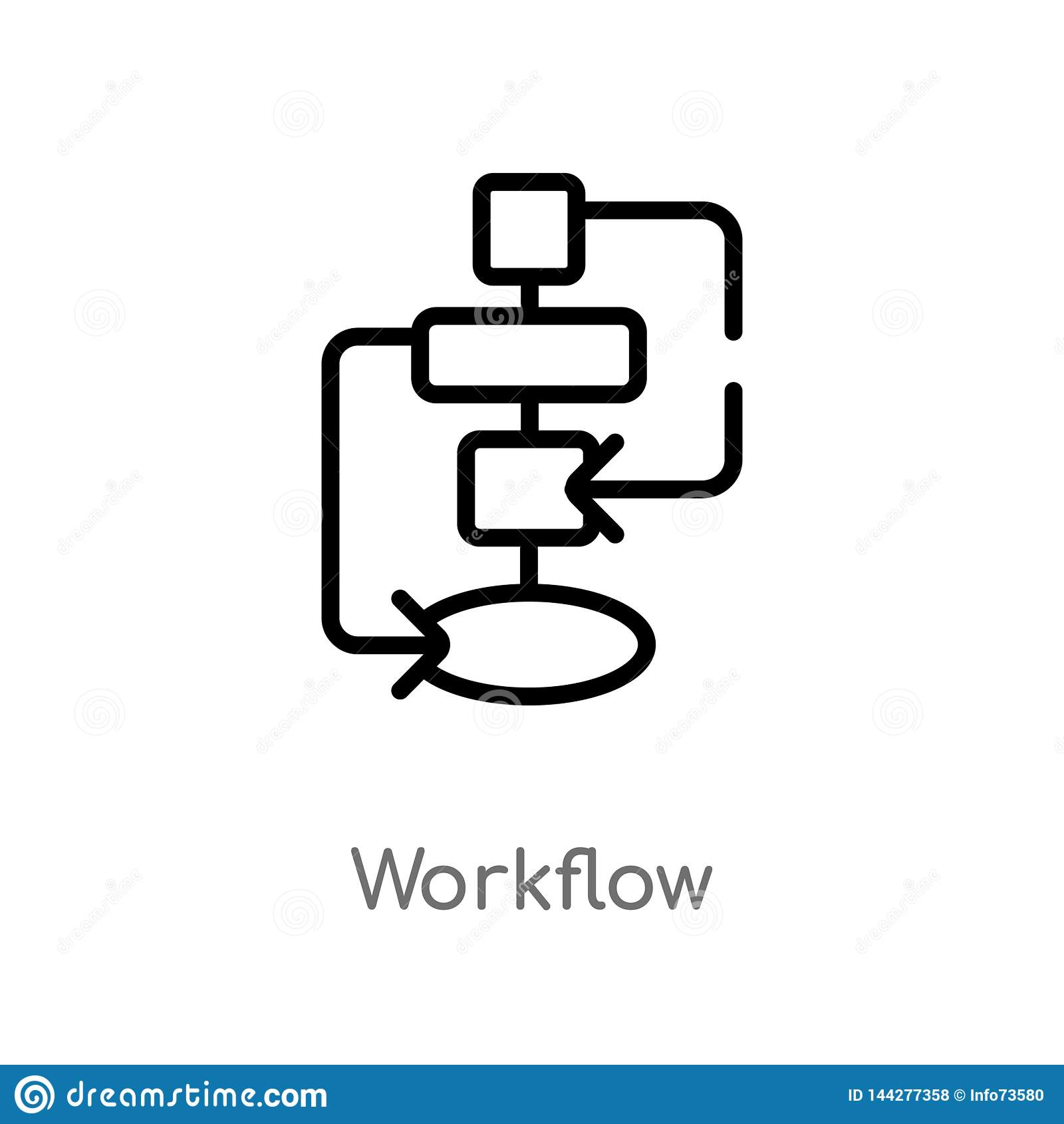 outline workflow vector icon. isolated black simple line element illustration from creative pocess concept. editable vector stroke