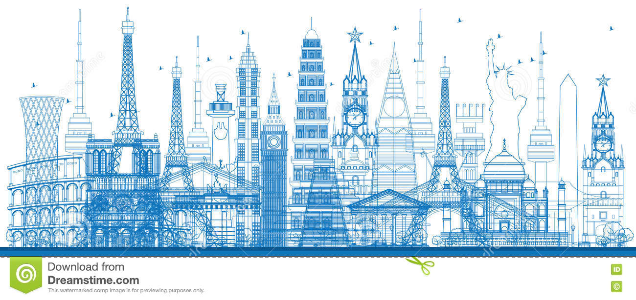 Outline world famous landmarks. Vector illustration.