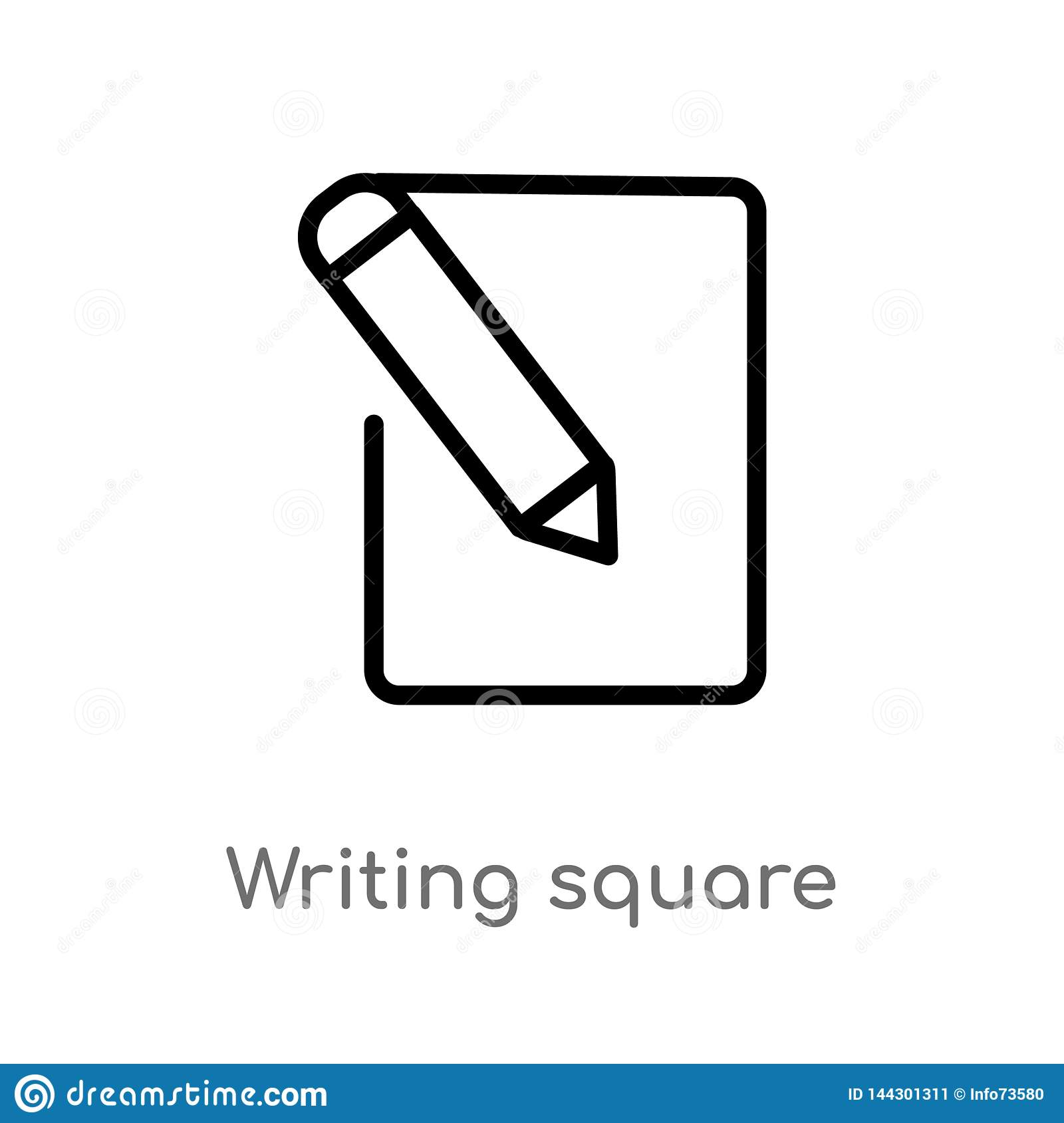 outline writing square vector icon. isolated black simple line element illustration from user interface concept. editable vector
