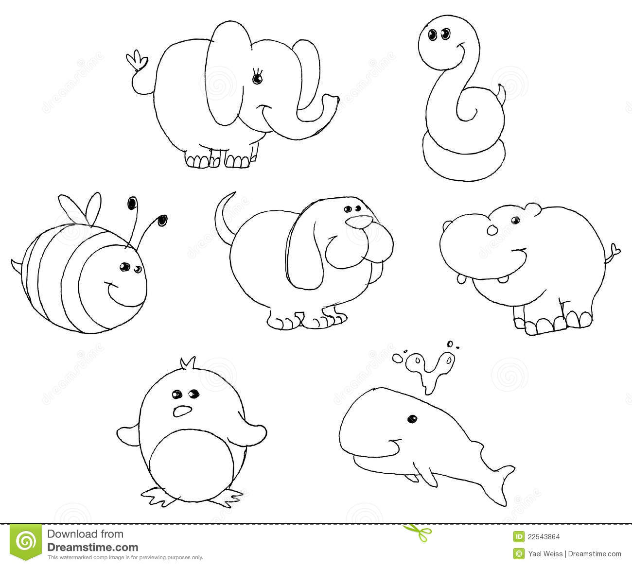 Outlined Animal Doodles Stock Images Image 22543864