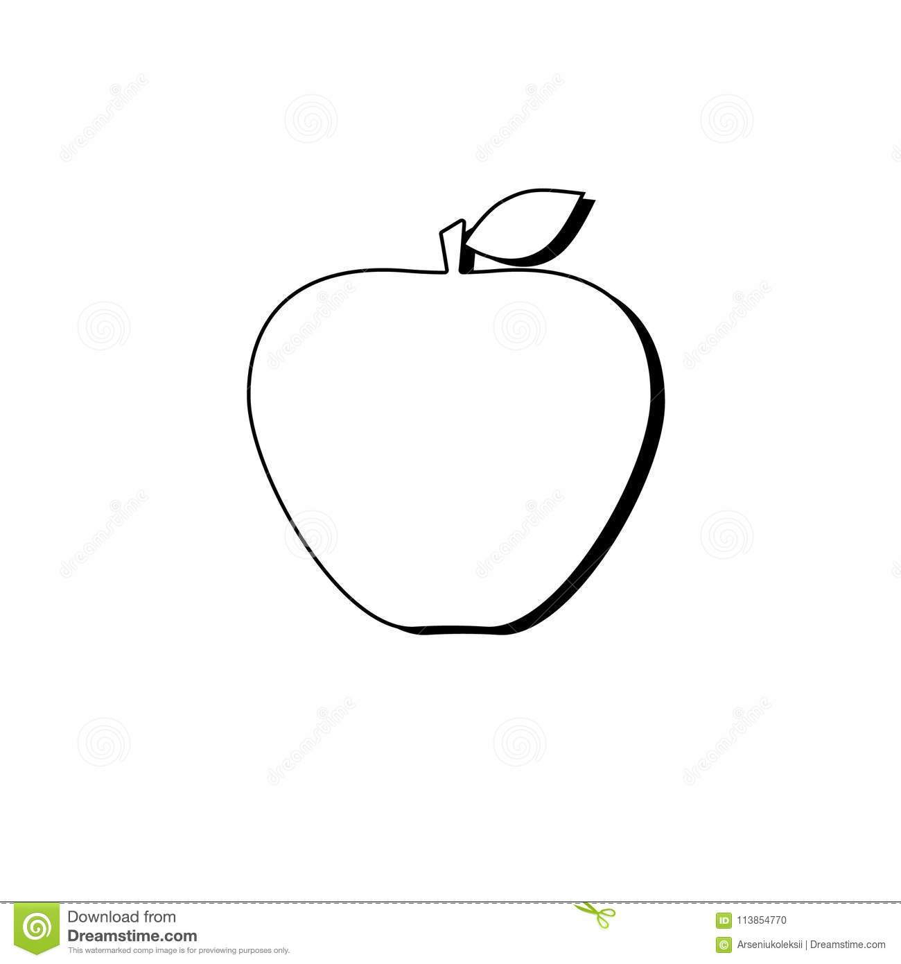 outlined apple sign stock vector. illustration of graphic - 113854770