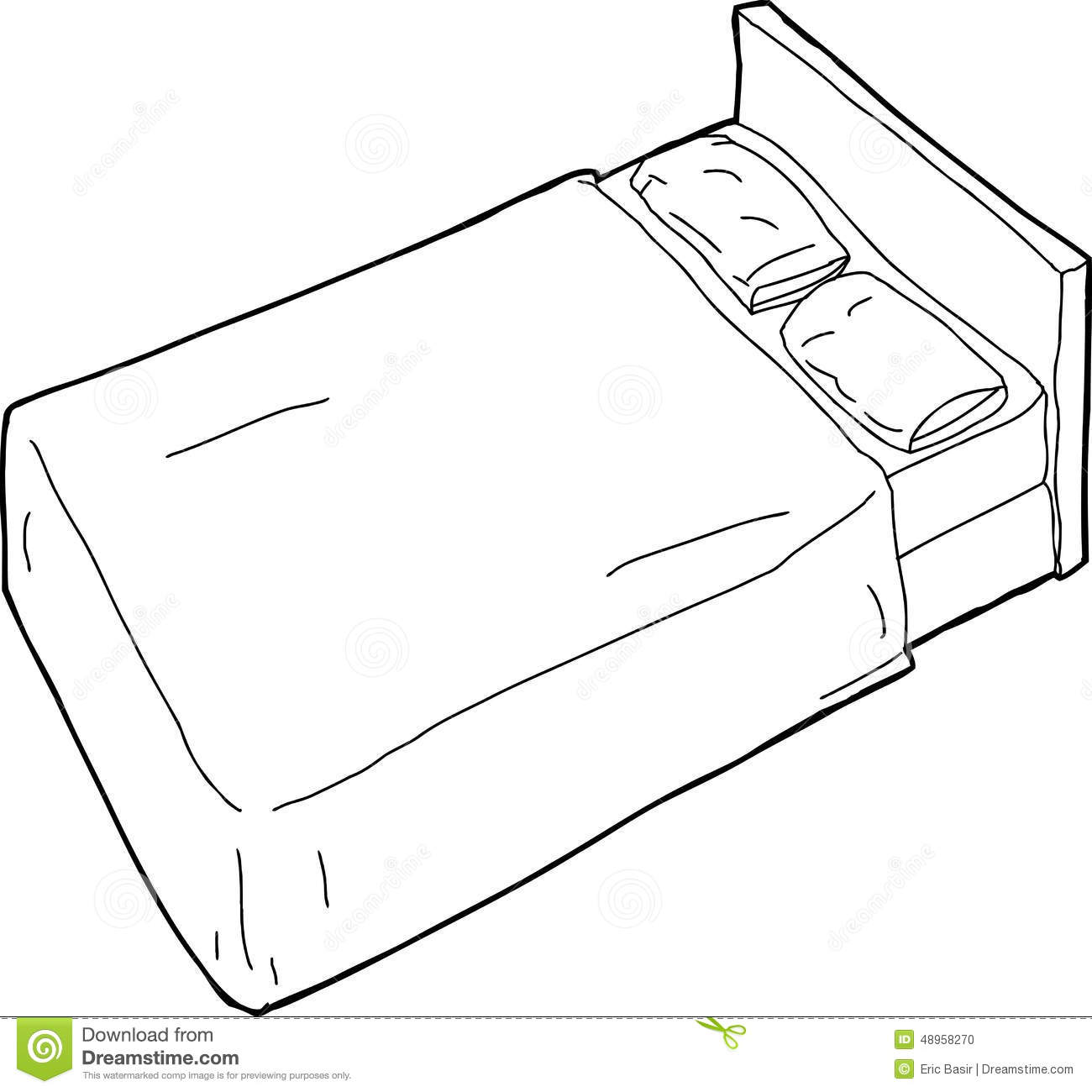 Outlined Bed Illustration Stock Illustration - Image: 48958270