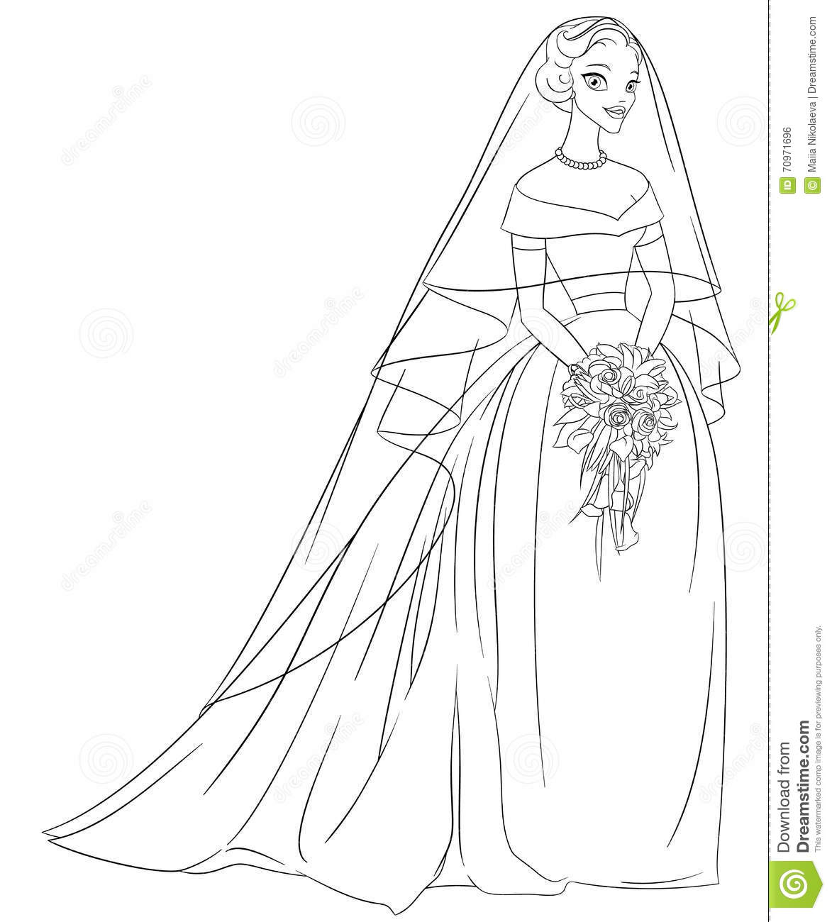 Outlined Bride With Veil And Bouquet. Line Art Coloring Page ...