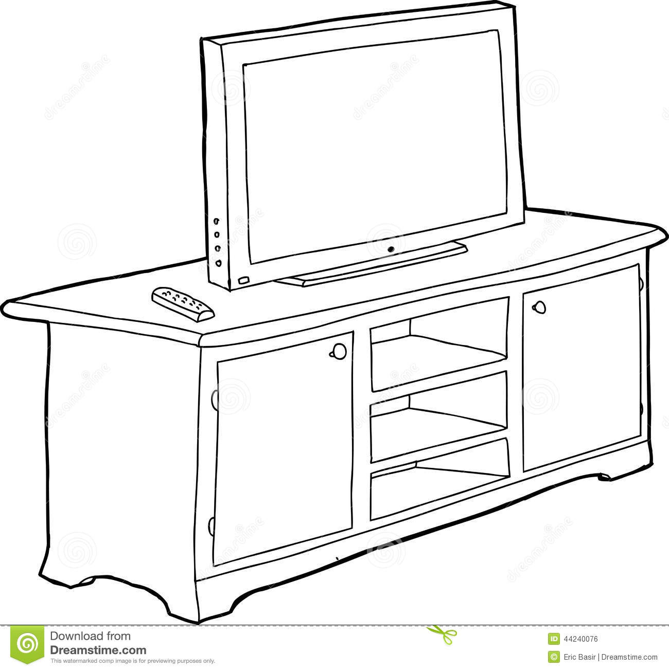Outlined Cabinet And TV Stock Vector Image 44240076