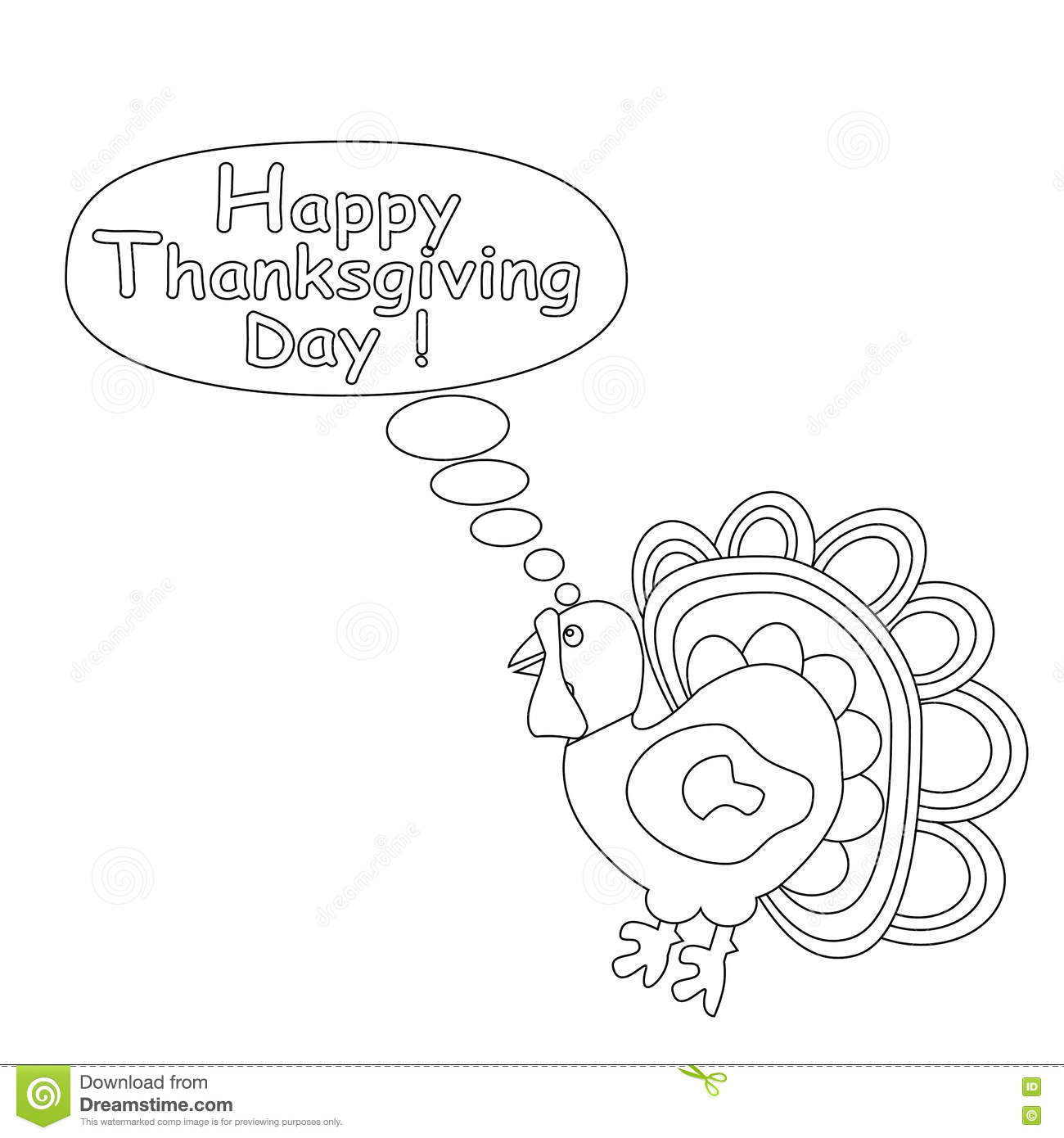 Outlined cartoon turkey happy thanksgiving day concept kids