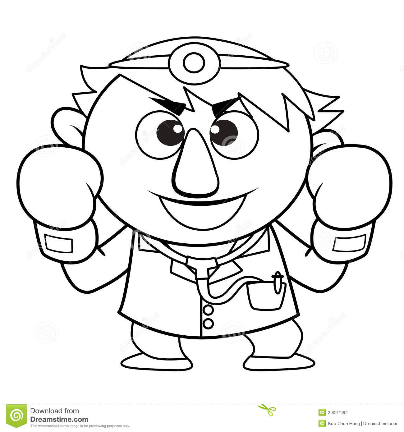 Outlined Cute Doctor Cartoon Brave