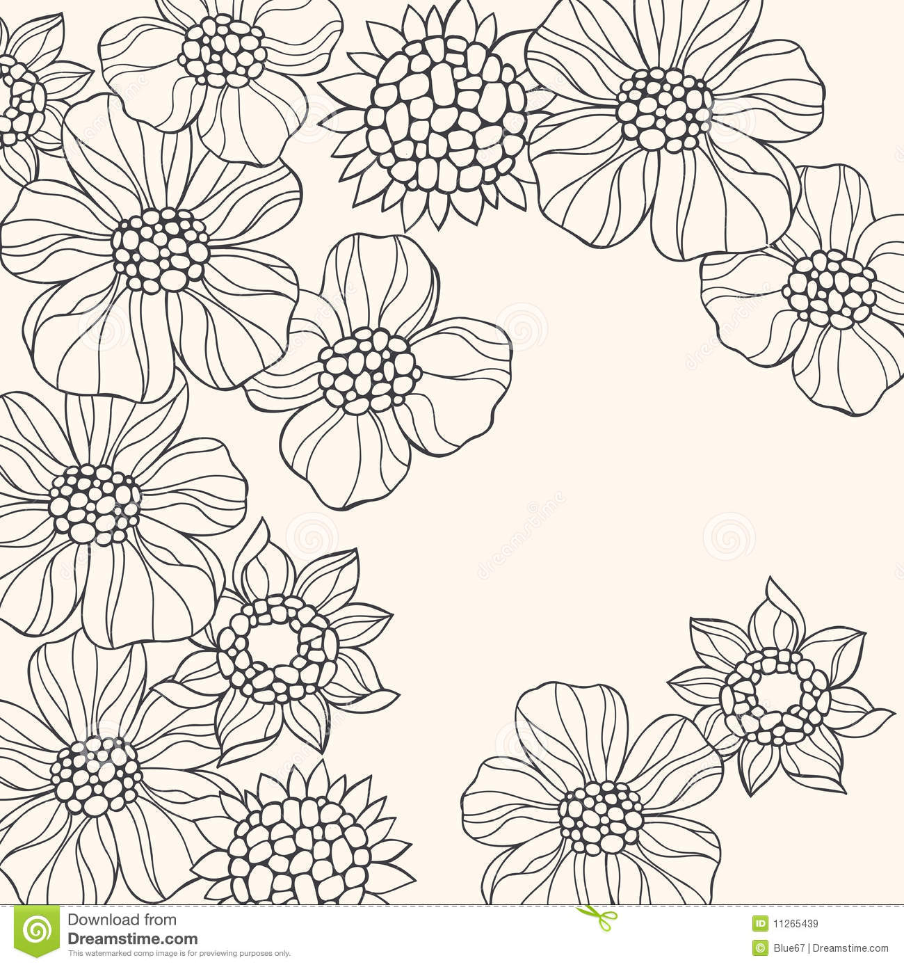 outlined doodle flowers vector stock vector image 11265439