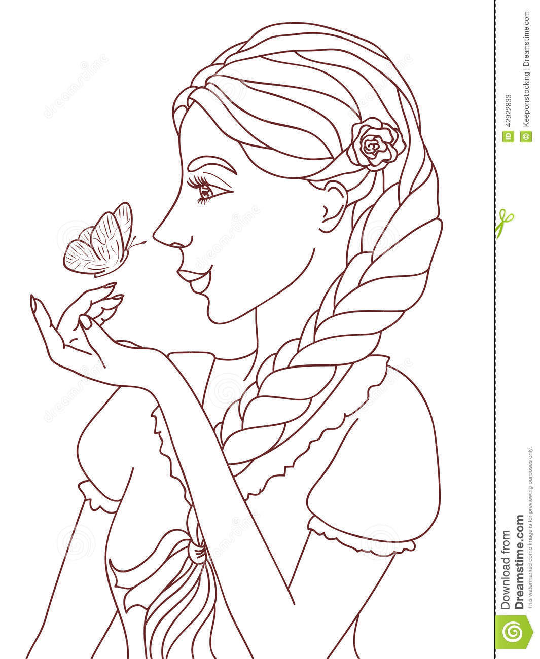 Outlined Illustration Of A Pretty Smiling Girl With
