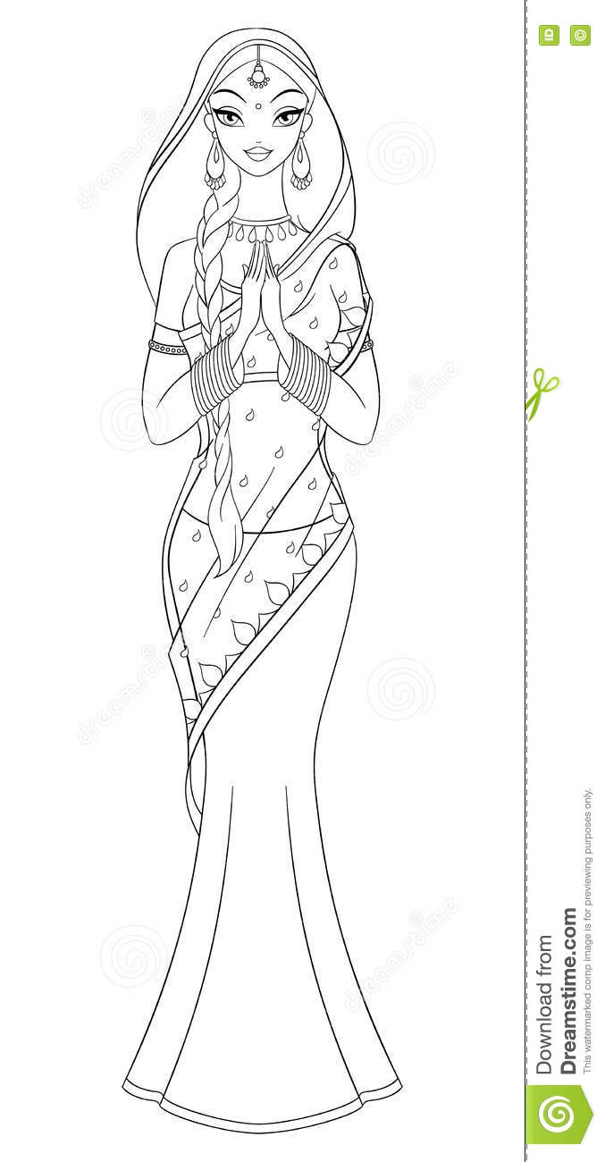outlined indian in sari coloring page vector illustration