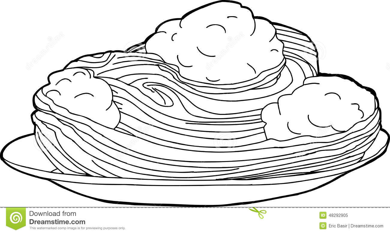 Outlined Noodles And Meatballs Stock Vector