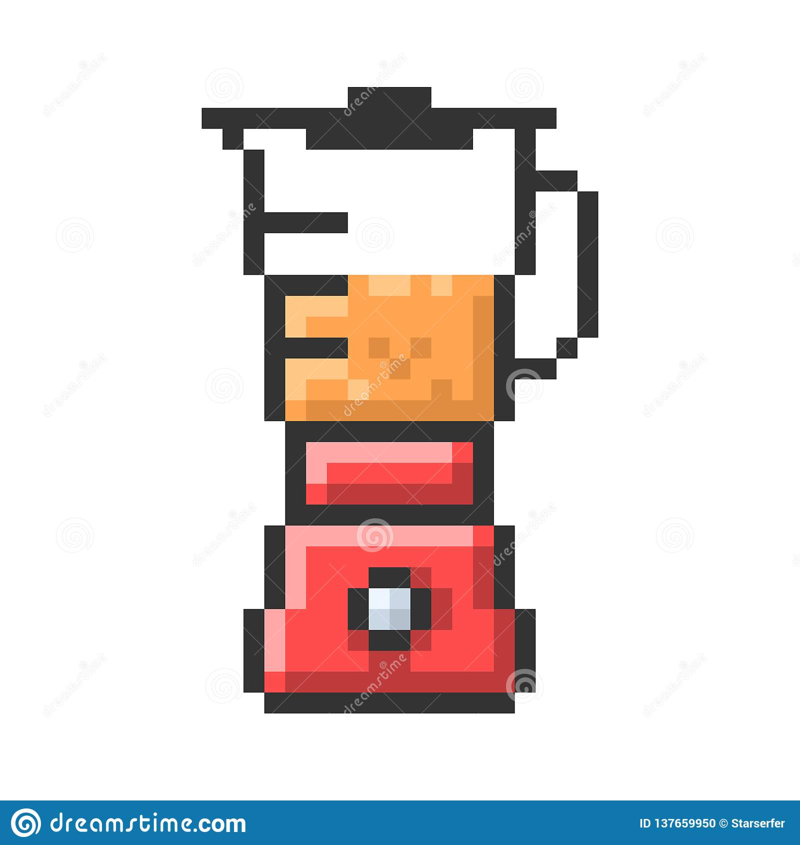 Outlined Pixel Icon Of Blender Stock Vector