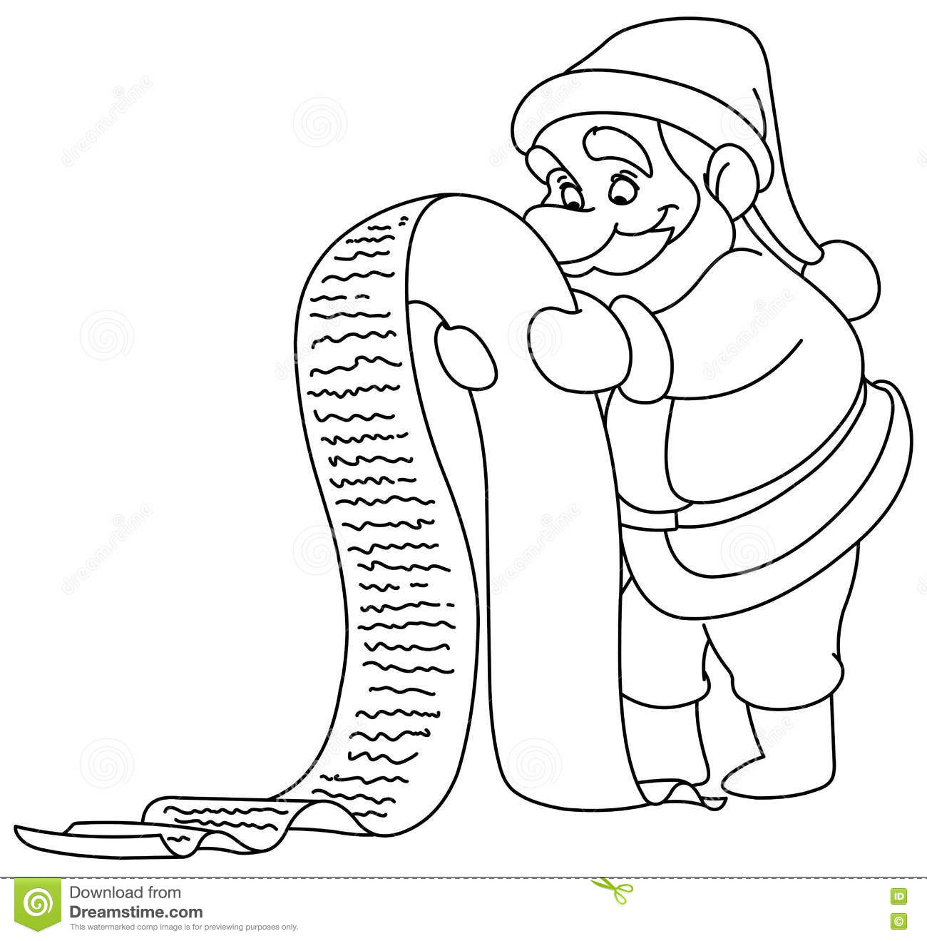 outlined santa claus reading a long christmas wish list vector illustration coloring page
