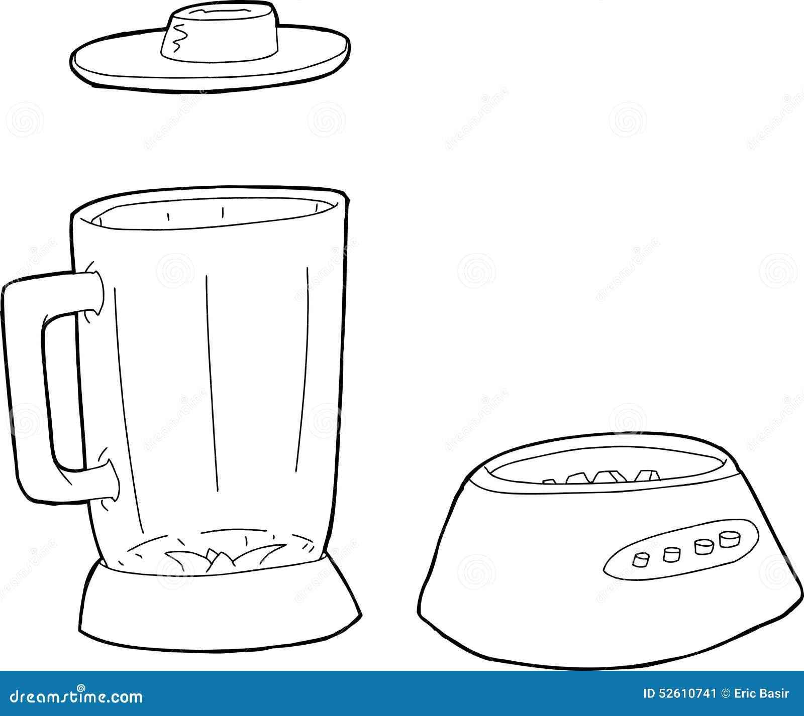 Clip Art Of Blender ~ Outlined set of blender parts stock illustration image