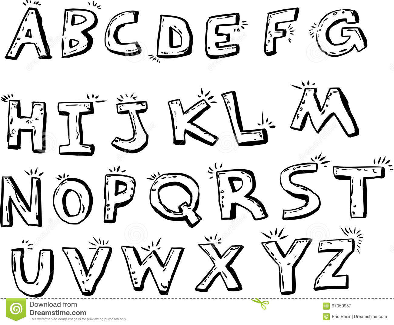 Outlined Shiny English Letters Stock Illustration Illustration Of