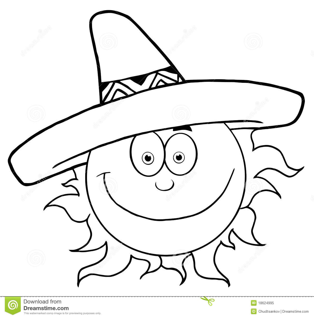 a599fca008e Outlined Smiling Sun With Sombrero Hat Stock Vector - Illustration ...