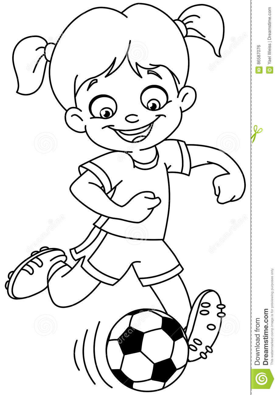 Outlined Soccer Girl Stock Vector Illustration Of Cute 86587076