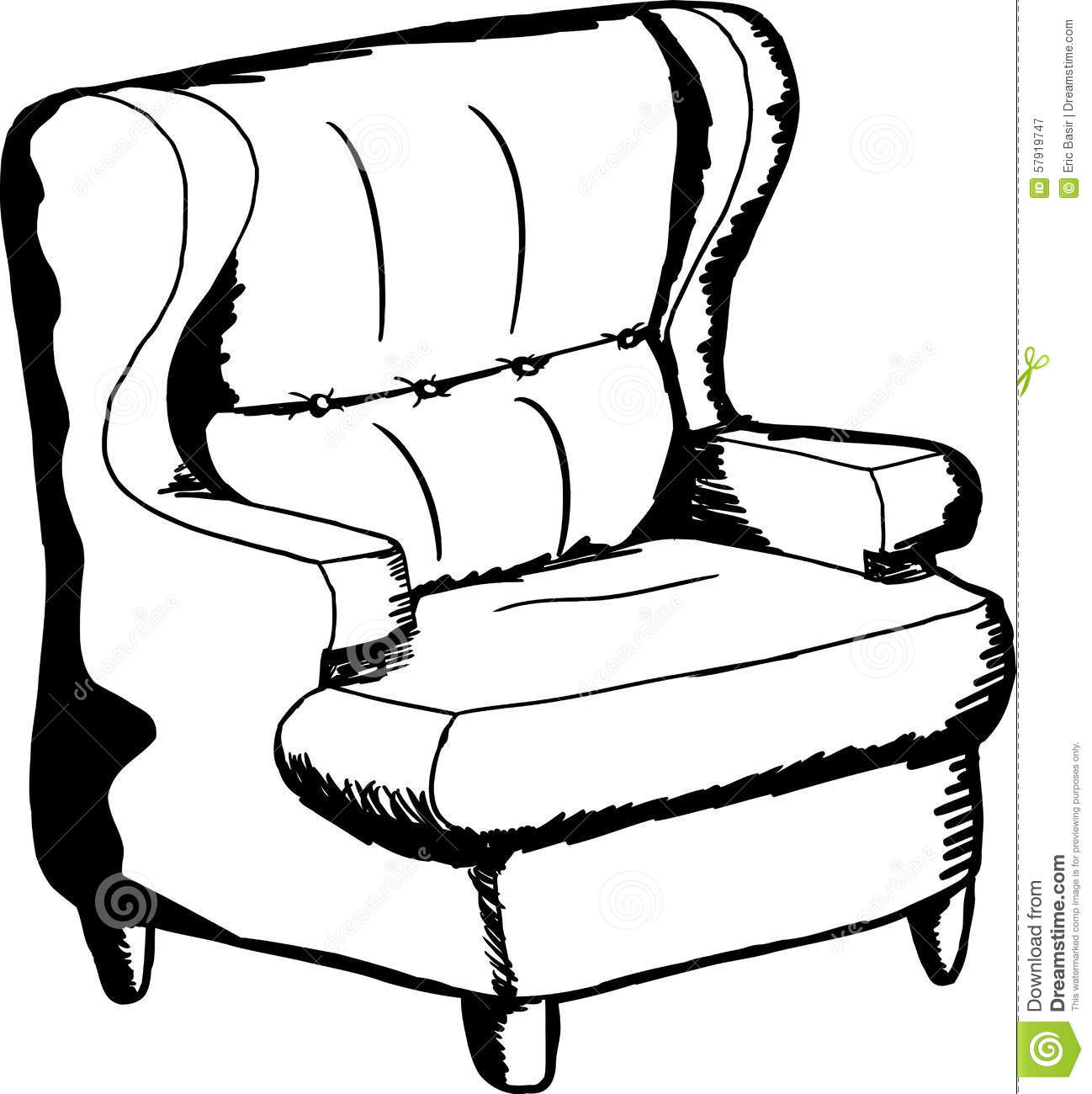 Outlined Sofa Chair Stock Illustration. Illustration Of