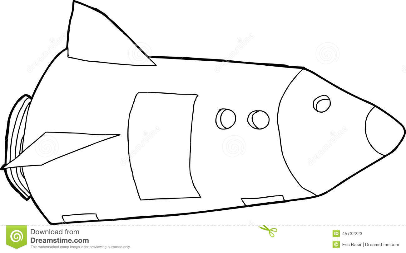 Outlined Space Rocket Stock Vector