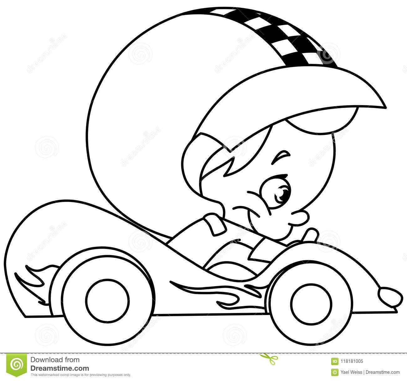 Outlined Kid Race Car Driver