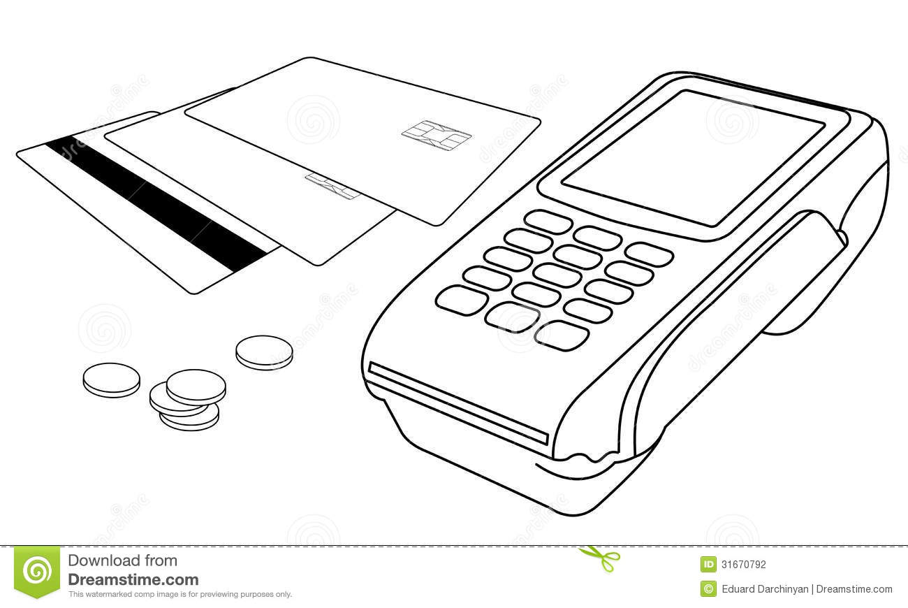 outlines of pos terminal  credit cards and few coi stock photography