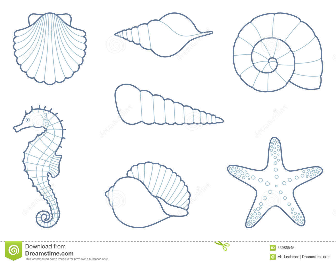the outlines of sea creatures stock vector