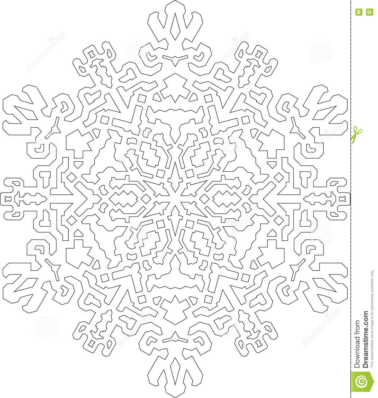 Outlines Of Snowflake In Mono Line Style For Coloring ...