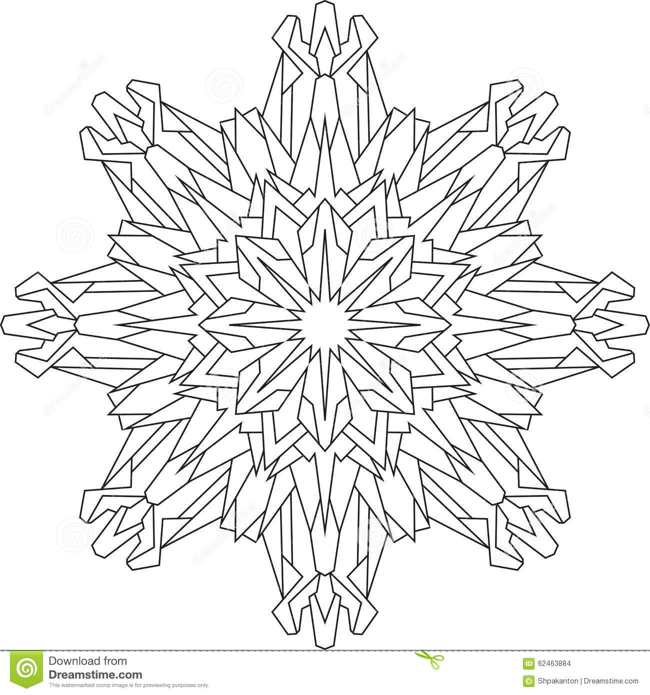 Coloring book snowflake - Outlines Of Snowflake In Mono Line Style For Coloring Coloring