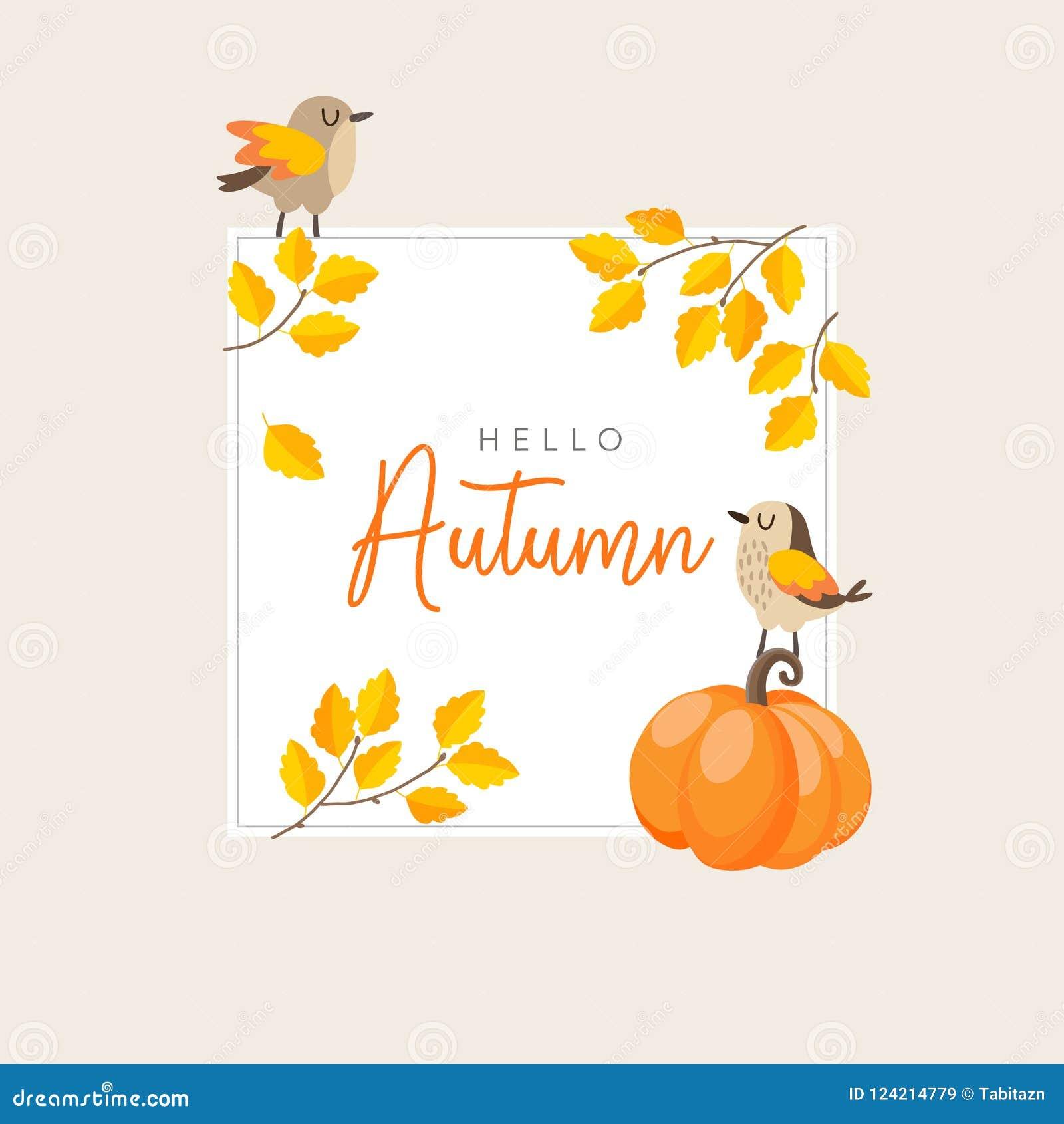 Outono, cartão da queda, convite com pássaros, folhas douradas coloridas e abóbora Conceito da ação de graças Vetor bonito
