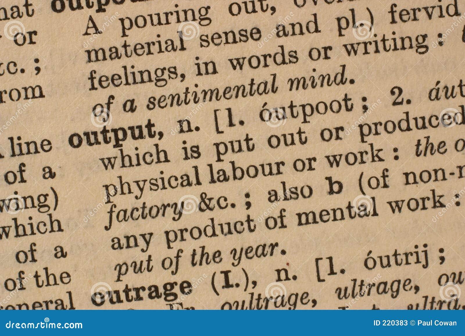 Output - bedrijfswoord