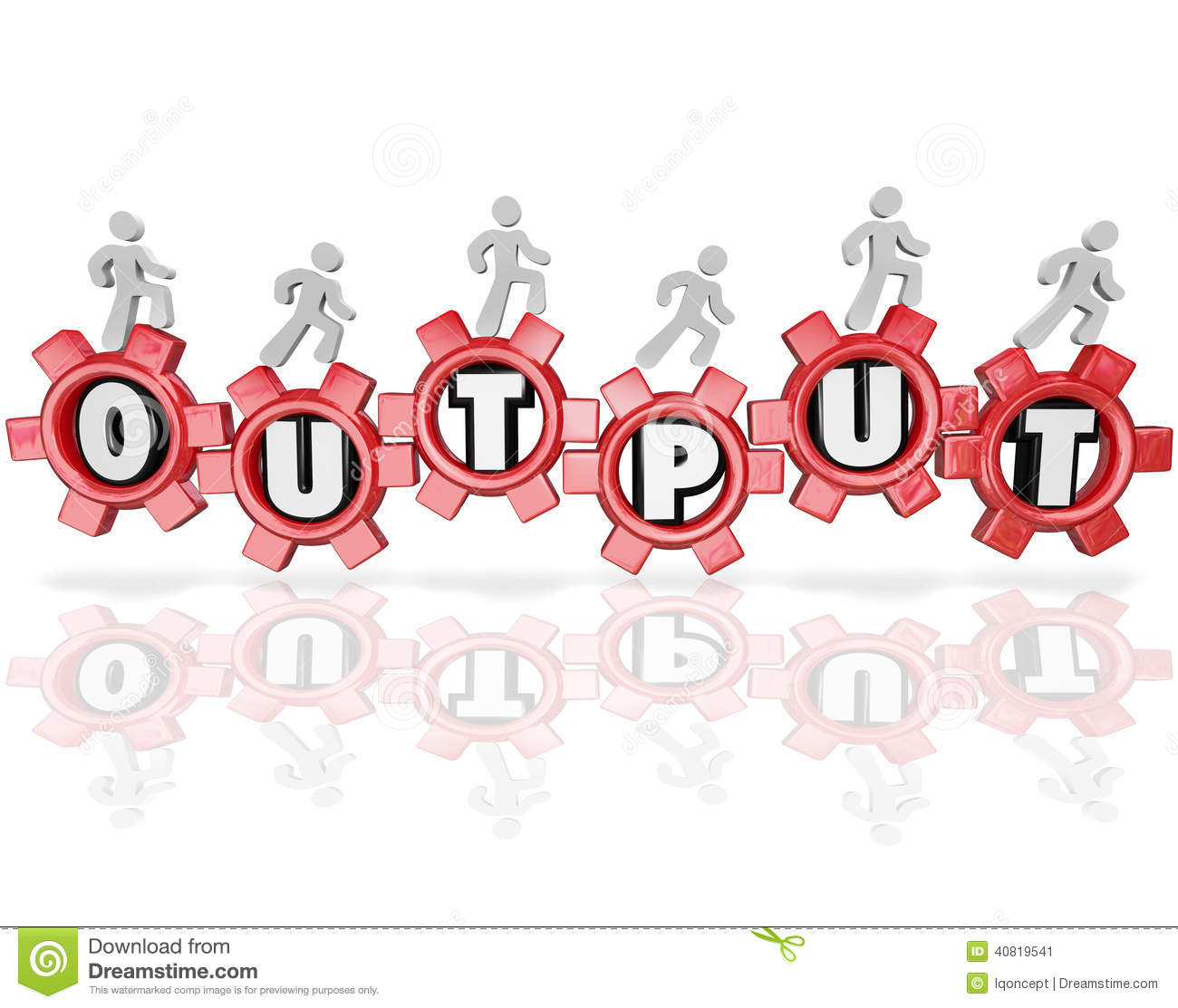 output word gears people working productivity results illustration