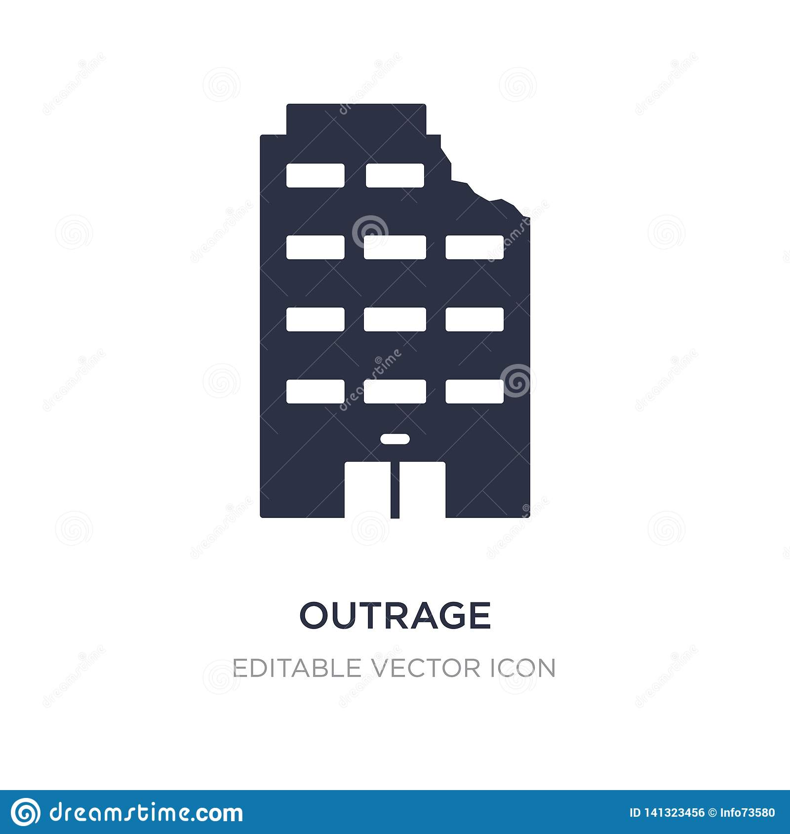outrage icon on white background. Simple element illustration from Buildings concept