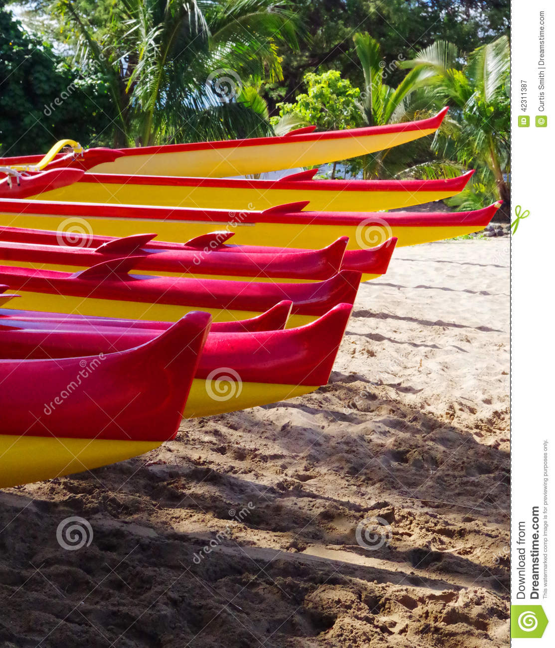 Outrigger canoes on the beach in Maui, Hawaii