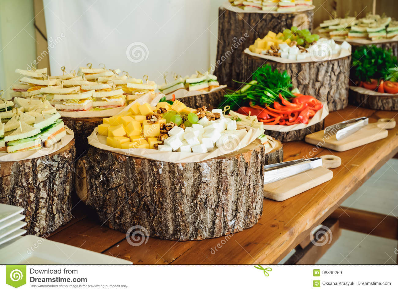 Outside Catering Buffet Table With A Delicious Food For Guests Of