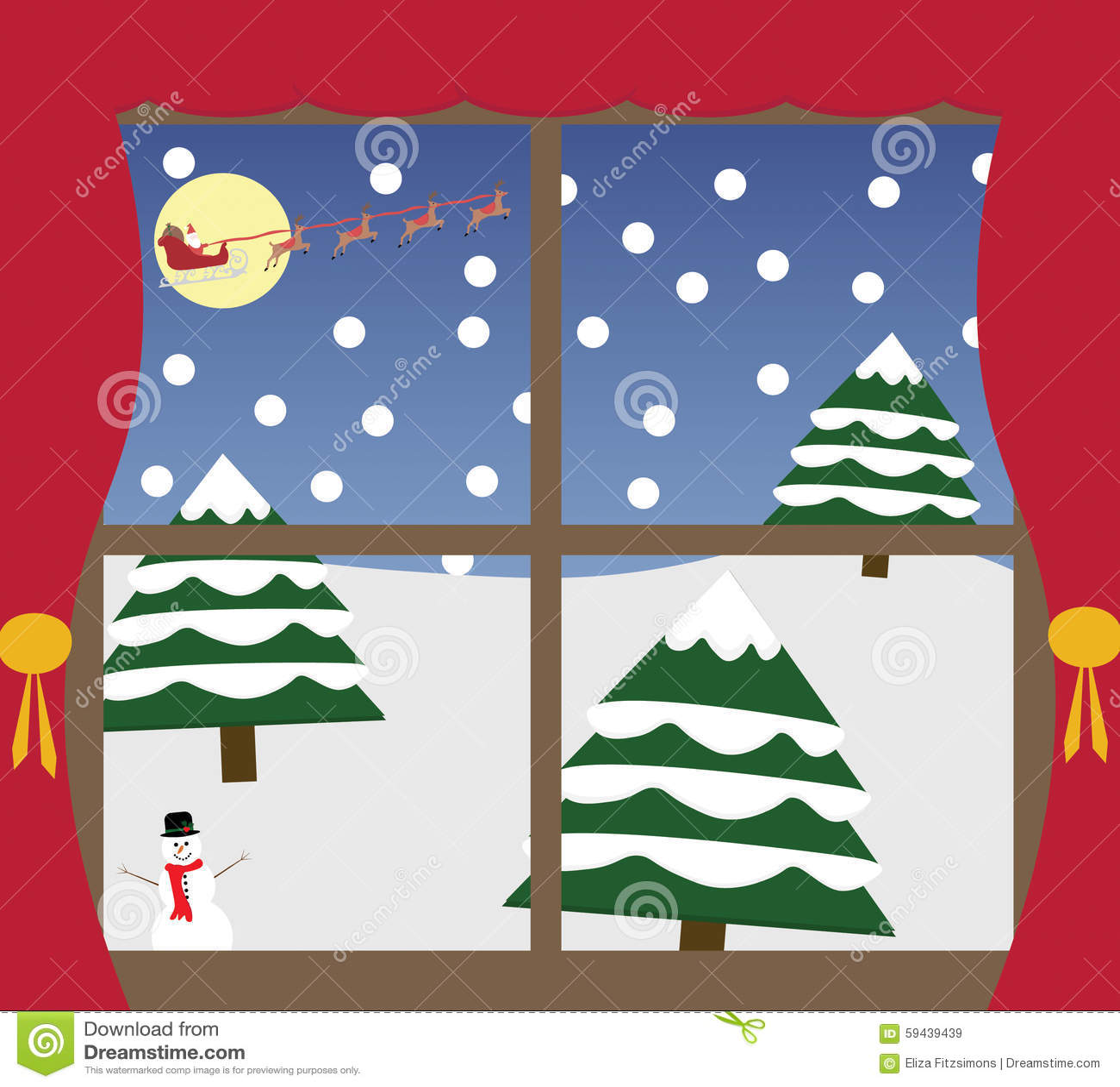 Outside Christmas Window Stock Vector Illustration Of