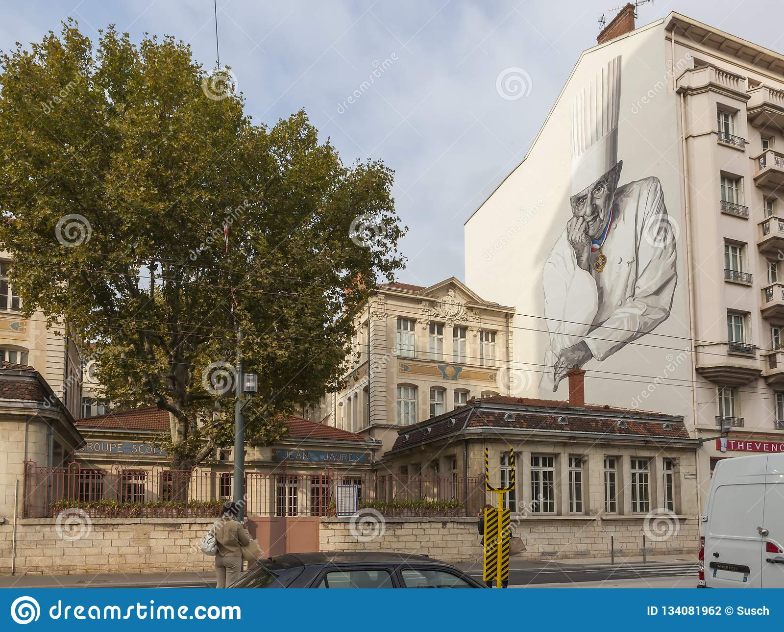 Outside Les Halles In Lyon A Wall Painting Of Famous Chef Paul