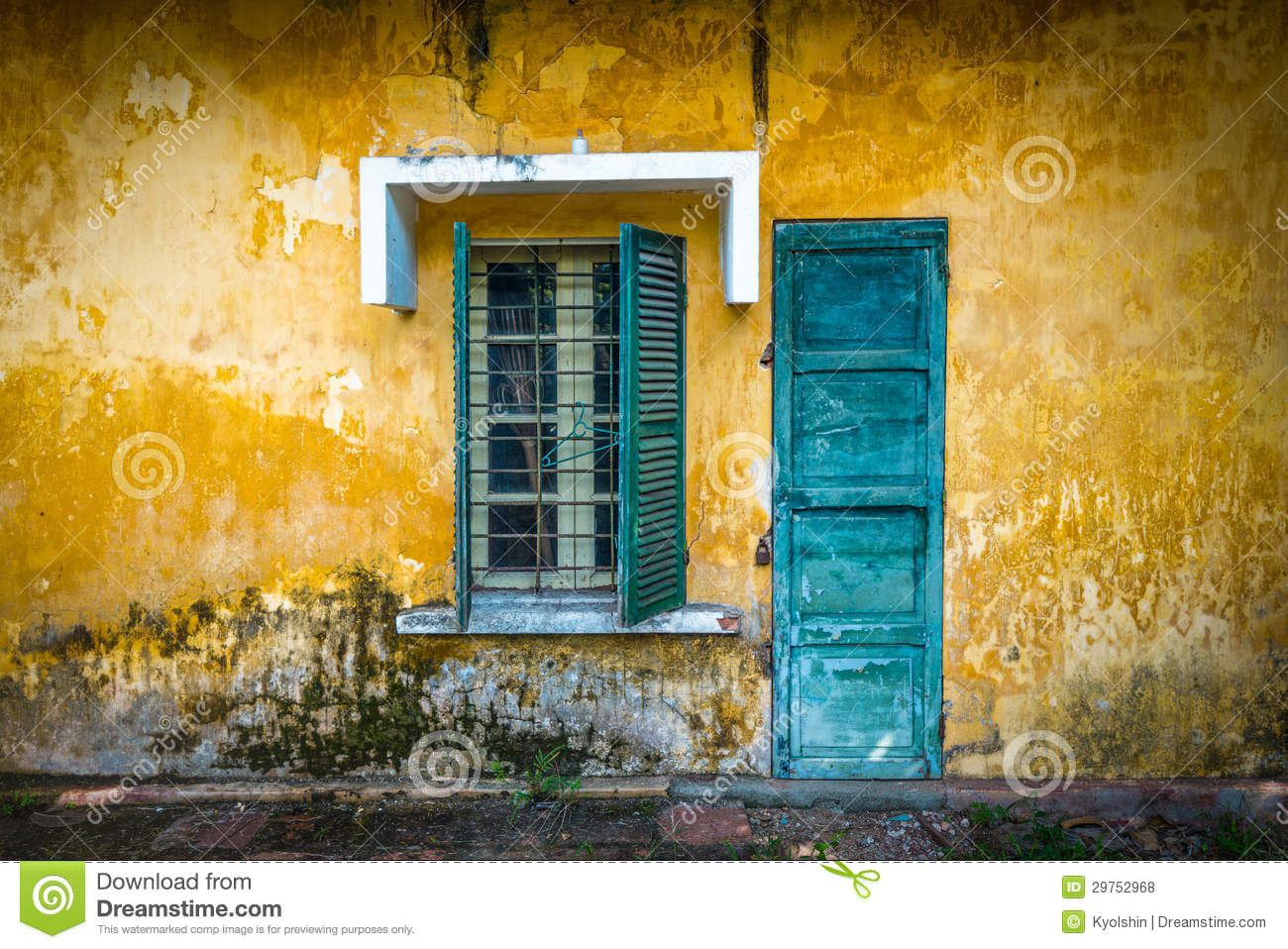 Old and worn house on street in vietnam royalty free for The door and the window