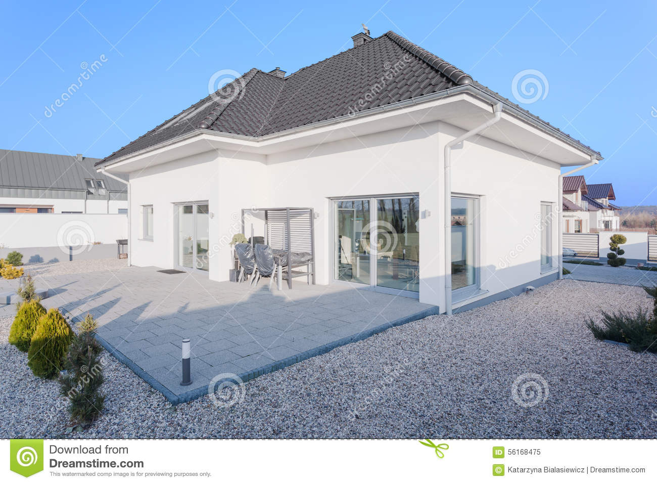 Outside view of modern house stock image image 56168475 for Outside view of house