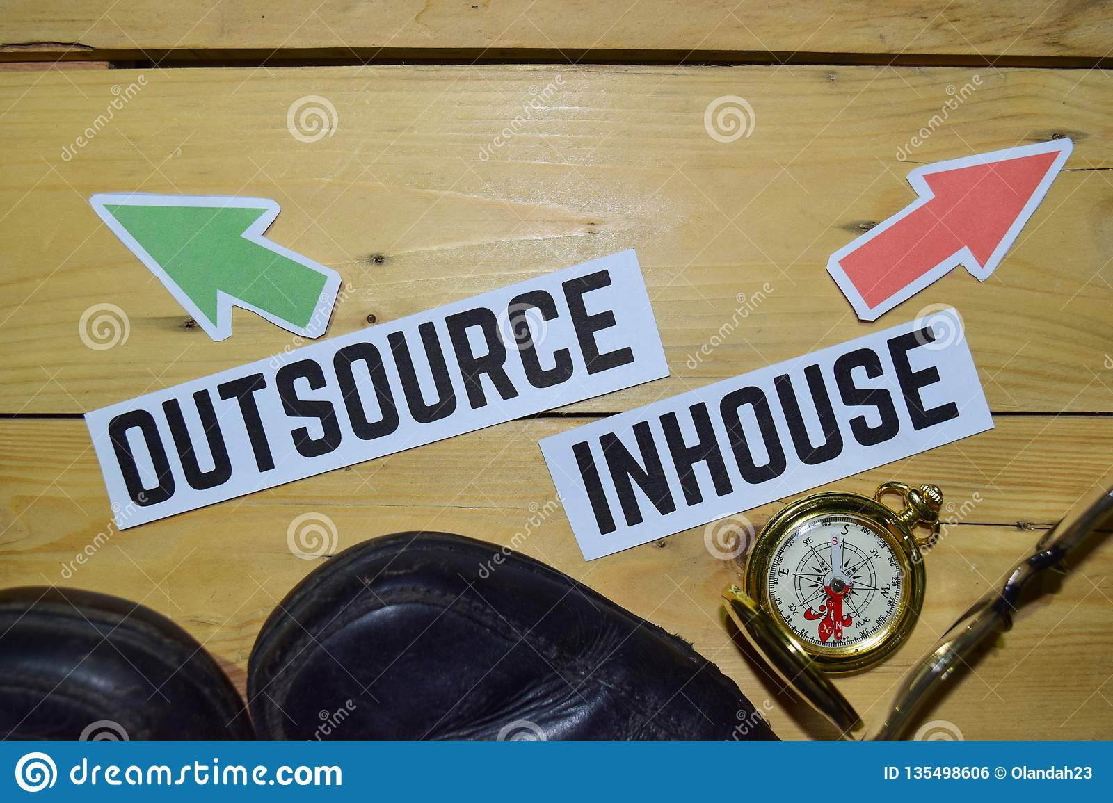 Outsource or Inhouse opposite direction signs with boots,eyeglasses and compass on wooden