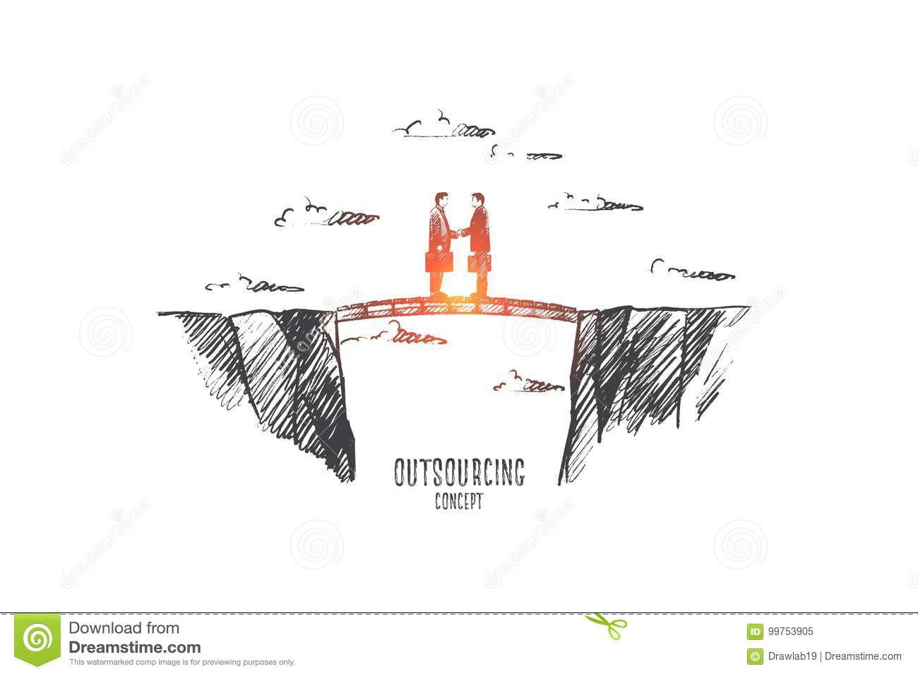 Outsourcing Concept Hand Drawn Isolated Vector Stock