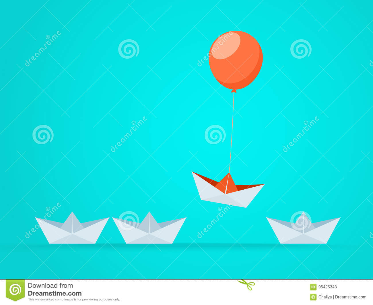 Outstanding the Boat rises above with balloon. Business advantage opportunities and success concept.