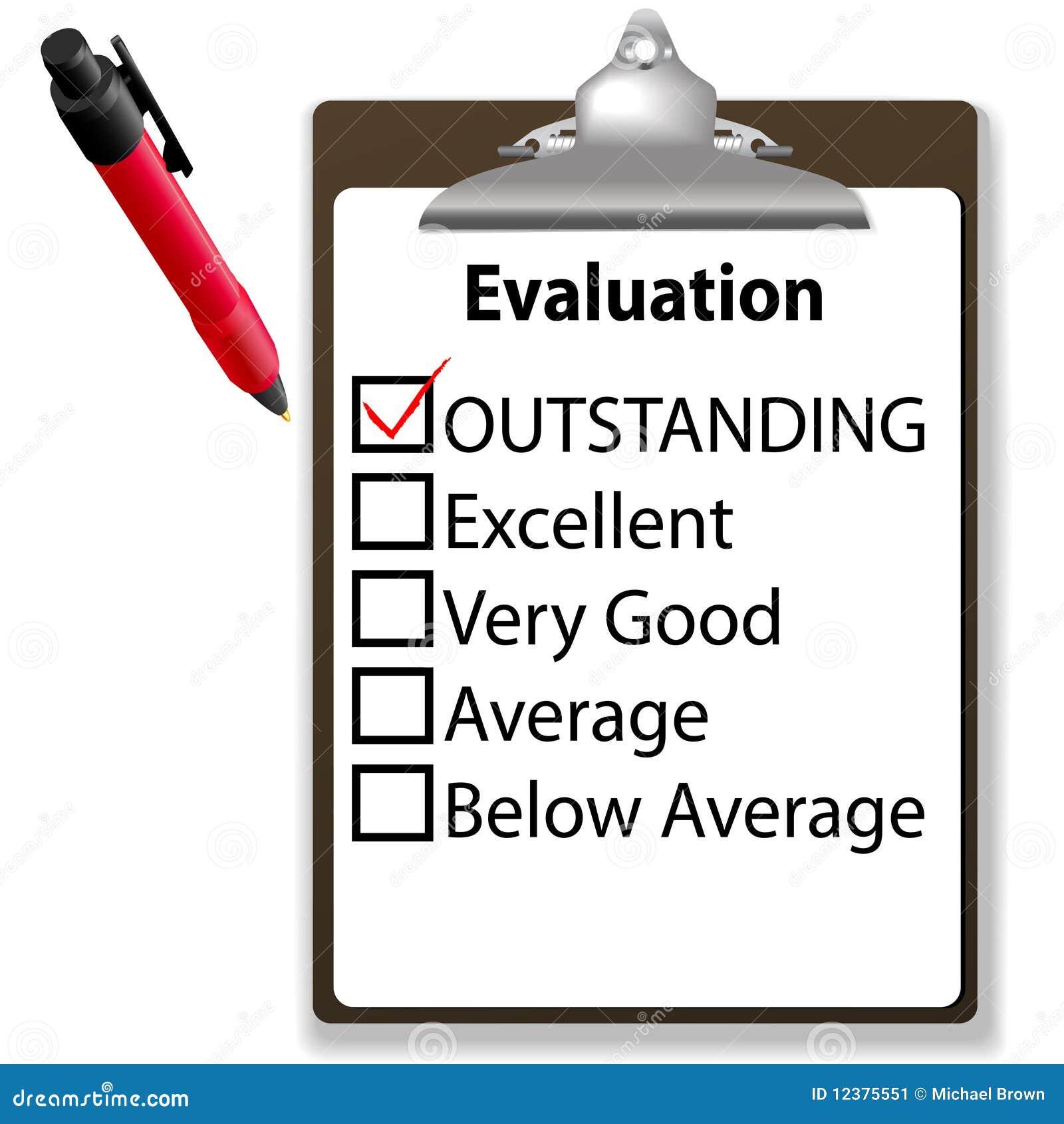 Outstanding Job Evalution Clipboard Check Mark Pen Stock