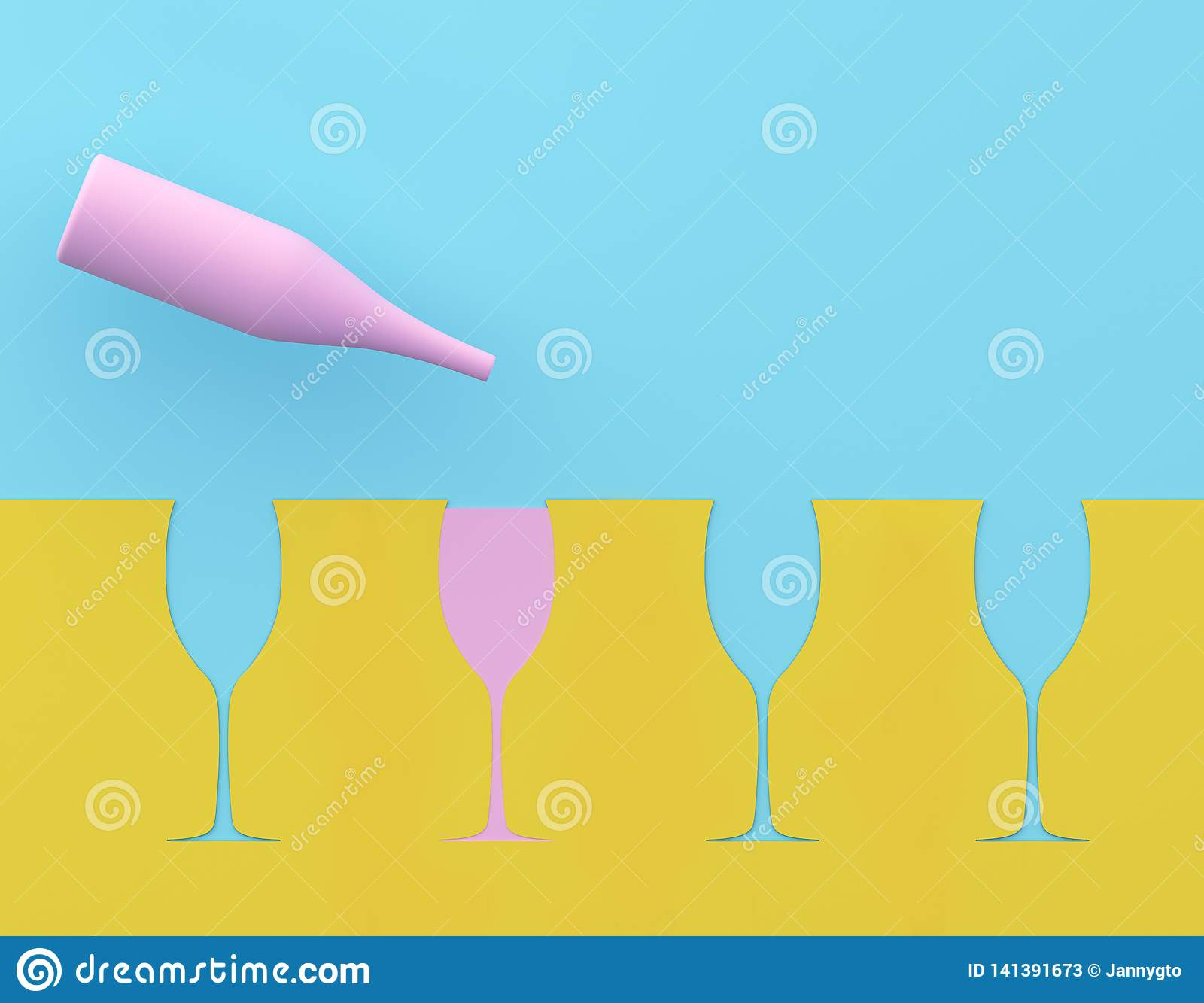 Outstanding pink champagne glass on blue and yellow pastel background. Party minimal concept.